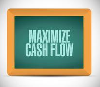 Stock Illustration of maximize cash flow board sign illustration