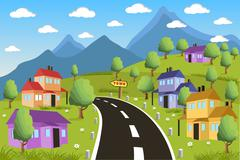 Rural landscape with small town Stock Illustration