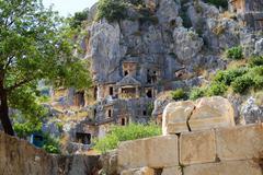 Stock Photo of The rock-cut tombs in Myra, Antalya, Turkey