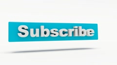Word Subscribe 3D, white background - stock footage