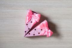 box-shaped piece of cake. Bonbonniere. candy-box - stock photo