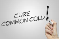 Hand writing common cold Stock Illustration