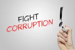 Hand writing fight corruption - stock illustration