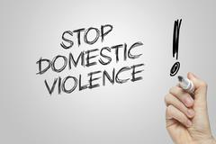 Hand writing stop domestic violence - stock illustration