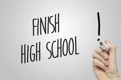 Hand writing finish high school - stock illustration