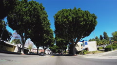 Driving Street With Big Leafy Trees- Painter Ave- Whittier CA Stock Footage