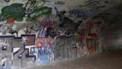 Vandalised underpass Stock Footage