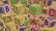 Flying rotating Wooden alphabet cubes Stock Footage