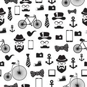 Seamless vector pattern in hipster style Stock Illustration