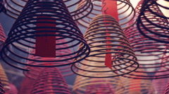 Incense coils and prayer cards, Tin Hau Temple, Hong Kong Stock Footage
