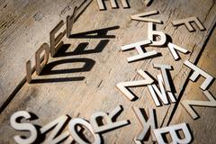 Wooden letters build the word idea - stock photo