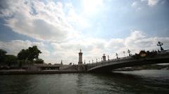 Bridge Pont Alexandre III, Paris, France Stock Footage