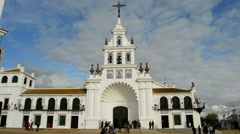 Church of Rocio Virgin in Huelva a spring afternoon Stock Footage