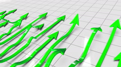 Green Investment Profit Arrows with Highs and Lows Loop Stock Footage