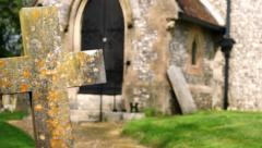 Church and grave slider shot Stock Footage