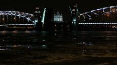 Night view of the Bolsheokhtinsky bridge in St. Petersburg, Russia. Full HD Stock Footage