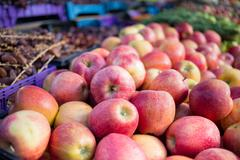 Fresh apples and vegetables in an outdoor market in Majorca - stock photo