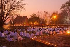 AYUTTHAYA THAILAND-March. 4: Makha Bucha Day.Traditional buddhist monks are l - stock photo