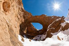 North africa geological wonder: the great hole of Akhiam in winter season. Ag Stock Photos