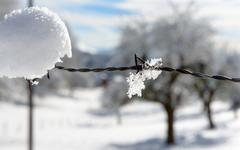 A wintry landscape with snow Stock Photos