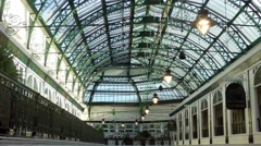 Shopping arcade domed roof cast iron supports victorian Stock Footage