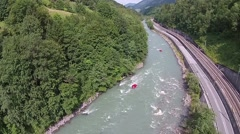 Rafting river in the mountain Stock Footage