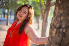 Happy fatty woman posing outdoor Stock Photos