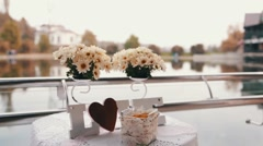 Wedding LOVE with flowers - stock footage