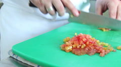 Close-up chef hands cooking and preparing vegetable food in restaurant kitchen. Stock Footage