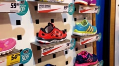 Exposition of sport shoes - stock footage