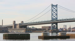 Ben Franklin Bridge Philadelphia Skyline - stock footage