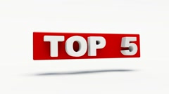 Word top 5 in red rotating in 3d Stock Footage
