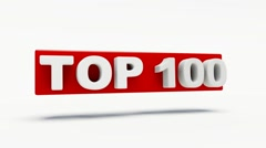 Word top 100 in red rotating in 3d Stock Footage