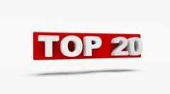 Word top 20 in red rotating in 3d Stock Footage