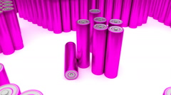 Animated plain (stripped from label) pink AA batteries 2 Stock Footage