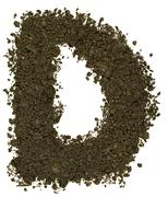 Alphabet of soil. Block capitals. Letter D - stock photo