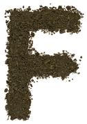 Stock Photo of Alphabet of soil. Block capitals. Letter F