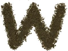 Alphabet of soil. Block capitals. Letter W Stock Photos