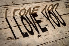 Wooden letters build the word i love you - stock photo