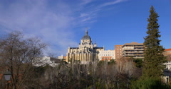 madrid sunny day almudena cathedral panorama 4k spain - stock footage