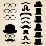Retro gentleman's set consists of a hat, glasses and mustache Stock Illustration