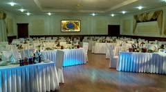 Laid tables in a banquet hall. Stock Footage