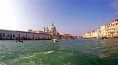 4K Grande Canal tour near basilica Santa Maria in Venice Stock Footage