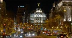 madrid night light gran via metropolis building traffic view 4k spain - stock footage