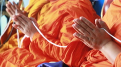 Monk Hand Pay Obeisance Pray And Holy Thread Of Thailand Stock Footage