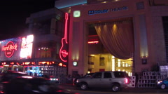 Stock Video Footage of Hard Rock Cafe And Dolby Theatre- Hollywood Blvd- Night