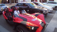 Polaris Slingshot On Rodeo Drive- Beverly Hills California - stock footage