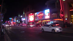 Tourist Attractions Traffic On Hollywood Blvd- Night- Los Angeles Stock Footage