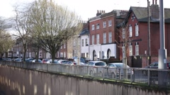 English Terrace Houses by fly over Stock Footage