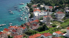 View from fortress on harbor of the city of Hvar. Stock Footage